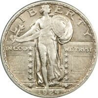 1924 25C STANDING LIBERTY SILVER QUARTER AU  OLD TYPE COIN MONEY