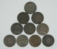 LOT X 10 PIECES 1804 DRAPED BUST HALF CENTS  AG OR BETTER
