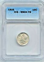 1925 MERCURY SILVER DIME, ICG MINT STATE 64 FB, FULL BANDS