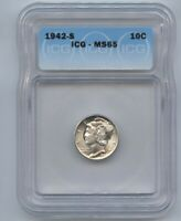 1942-S SILVER MERCURY DIME 10C ICG MINT STATE 65