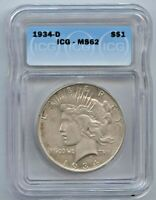 1934-D PEACE DOLLAR ICG MINT STATE 62