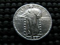 1929-S AU STANDING LIBERTY QUARTER WITH OBVERSE CLASHED DIES