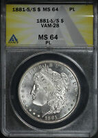 1881-S/S VAM-28 DOUBLED 1-1, S/S LEFT MORGAN DOLLAR ANACS MINT STATE 64 PL