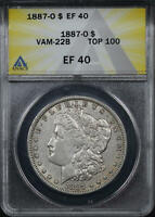 1887-O TOP 100 VAM-22B CLASHED DOUBLED OBV, PITTED REV MORGAN DOLLAR ANACS EF-40
