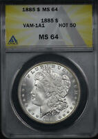 1885 HOT 50 VAM-1A1 PITTED REVERSE MORGAN DOLLAR ANACS MINT STATE 64