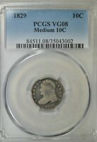 1829 CAPPED BUST DIME, PCGS VG8