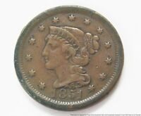 1851 LARGE ONE CENT BRAIDED HAIR LIBERTY HEAD COPPER PENNY CIRCULATED US COIN