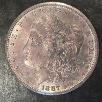 1887-S MORGAN SILVER DOLLAR- TONED OBVERSE UNCIRCULATED HIGH QUALITY SCANS F896
