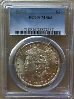 1887-S $1 MORGAN SILVER DOLLAR PCGS MINT STATE 63