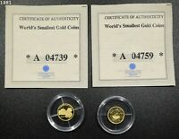 2000 LIBERIA $25 GEORGE WASHINGTON WORLDS SMALLEST GOLD COIN