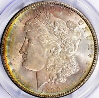 1900-P MORGAN SILVER DOLLAR - PCGS MINT STATE 64 - TONED, LITE TOUCH OF ELECTRIC ON OBV.