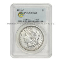 1893-O $1 MORGAN PCGS MINT STATE 63 PQ APPROVED CHOICE NEW ORLEANS SILVER DOLLAR COIN