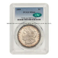 1899 $1 MORGAN PCGS MINT STATE 66 GEM GRADED CAC CERTIFIED SILVER DOLLAR PHILDELPHIA COIN