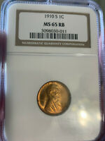 1910 S LINCOLN CENT MS65RB NGC DESIRABLE SEMIKEY DATE GEM CO