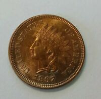 1867/67 INDIAN HEAD 1 CENT BRIGHT RED FS 301 UNCIRCULATED RA