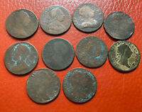 GEORGE 10 DIFFERENT 1/2 PENNYS  NON REGAL