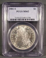 1881 S UNITED STATES MORGAN SILVER DOLLAR - PCGS GRADED MINT STATE 62
