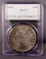 1887 P UNITED STATES MORGAN SILVER DOLLAR - PCGS MINT STATE 63 - RATTLER - OLD HOLDER