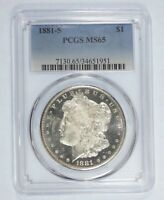 1881-S MORGAN $ CERTIFIED PCGS MINT STATE 65 SILVER $  OBVERSE IS DMPL WITH TONED REV