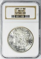 1880-S MORGAN SILVER DOLLAR - NGC MINT STATE 65 - LUSTERED OBV & REV - PREMIUM COIN