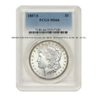 1887-S $1 SILVER MORGAN PCGS MINT STATE 66 GEM GRADED SAN FRANCISCO MINT DOLLAR COIN