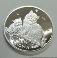 SILVER ISLE OF MANN 999 CAT COIN CROWN