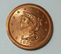 1851  BRAIDED HAIR HALF CENT BRILLIANT UNCIRCULATED RED GENU