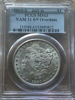 1880/9-S HOT 50 VAM 11 0/9 OVERDATE MINT STATE 63 PCGS