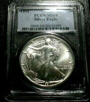 OLD US COINS 1991 SILVER EAGLE PCGS MINT STATE 69 BULLION SHIPS FREE