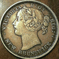 1864 NEW BRUNSWICK SILVER 20 CENTS   EXCELLENT EXAMPLE