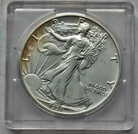 1991 AMERICAN SILVER EAGLE SOME TONING ON FRONT - IN PLASTIC HOLDER