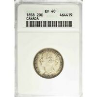 1858 CANADA TWENTY CENTS   ANACS EF40   ONE YEAR ISSUE COIN    C216UTXST1