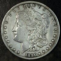 1890 CC MORGAN SILVER DOLLAR  CLEANED SCRATCH  GREAT SET FILLER 103
