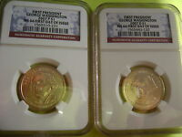 2007 WASHINGTON P&D NGC MINT STATE 66 FIRST DAY ISSUE CIRCULATION STRIKE 2-COIN DOLLAR SET