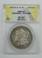 1893-S MORGAN SILVER DOLLAR CERTIFIED ANACS VF 30 DETAILS  DESIRABLE DATE