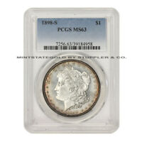 1898-S $1 SILVER MORGAN PCGS MINT STATE 63 CHOICE GRADED SAN FRANCISCO MINTED DOLLAR COIN