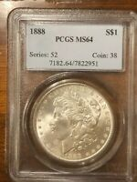 1888 MORGAN SILVER DOLLAR, PCGS MINT STATE 64 BEAUTIFUL COIN