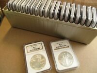1986-2005 AMERICAN SILVER EAGLE NGC MINT STATE 69 BROWN LABEL 20 COIN SET CHOICE