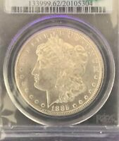 1885-CC PCGS MINT STATE 62 VAM 4 DOUBLE DASH CAC $1 MORGAN DOLLAR