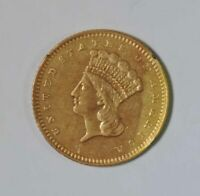 1862 TYPE 3 U.S. ONE DOLLAR $1 INDIAN PRINCESS HEAD GOLD COI