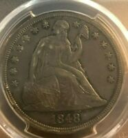 1848 SEATED LIBERTY DOLLAR , EXTRA FINE   DETAIL,  PCGS EXTRA FINE  GENUINE