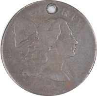 1794 FLOWING HAIR LIBERTY CAP LARGE CENT 1C DETAIL'S HOLED  FILLER
