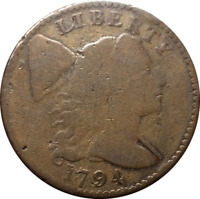 1794 LARGE CENT 1C LIBERTY CAP FLOWING HAIR  BROWN BOLD DATE DETAILS CLEANED