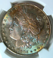 1904-O RAINBOW TONED MORGAN DOLLARNGC MINT STATE 64 STAR VAM4B COLORFUL PASTEL OBVERSE