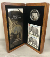 2004 CANADA THE GREAT GRIZZLY SILVER $8 PROOF COIN & STAMP S