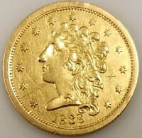 1838 $2.50 CLASSIC HEAD GOLD PIECE NO MOTTO VARIETY