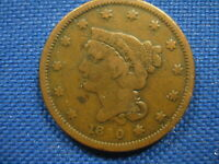 1840 US BRAIDED HAIR LARGE CENT ONE CENT COIN SMALL LETTERS