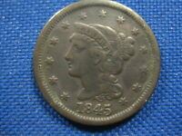 1845 US BRAIDED HAIR LARGE CENT ONE CENT COIN