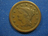 1847 US BRAIDED HAIR LARGE CENT ONE CENT COIN