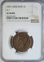 1857 LARGE DATE BRAIDED HAIR LARGE CENT N-1 NGC GRADED EXTRA FINE 40  FINE